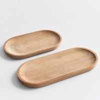 Eco-friendly pálete de madeira de madeira bandeja de copo oval frutas dessert prato biscoitos pratos de bolo para crianças placas de cozinha home bh5088 tyj