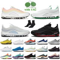 Nike Air Max 97 Nike 97 MSCHF x Lil Nas X Satan حذاء رياضي نسائي رجالي للجري أحمر أبيض ثلجي أسود معدني ذهبي غير مهزوم