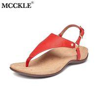 Mcckle cunha sandália retro casual confortável soft macio pu couro mulher fivela talhas flip flops feminino sapatos moda 210619