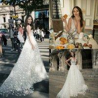 NETTA BENSHABU Trouwjurken Bling V-hals Beaded Sparkly Star Applique Plus Size Bridal Jurken Sweep Train Beach Robe de Mariée