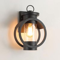 One-Light Exterior LED Wall Lantern Lamps Matte Black Outdoor Indoor Sconce Light 7W Filament Edison Bulb Walls Mount Sconces Porch Lamp 85-265V