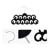 Hangers & Racks 4Pcs Non-slip 11 Hooks Household Tie Belt Holders (Black)