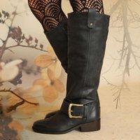 Boots 2021 Woman Block Heels Luxury Desinger Knee High Booties Female Comfort Casual Low Heel Ladies Fashion Buckle Botas