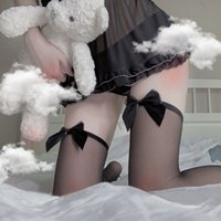 Cute Women's Hosiery Thin Bow Stay Up Thigh High Silk Stockings Hose.Ladies Sexy Bow Tights Stockings Over-knee-socks