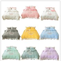 Hotel Wedding Princess Bedding Sets Heart Flower Embroidery Duvet Covers Cotton 4pcs Bed Skirt Pillowcases Quilt Cover Bedlinens Queen Calfornial King HXSJ03