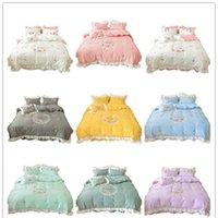 Hotel Wedding Princess Bedding Sets Heart Flower Embroidery Duvet Covers Cotton 4pcs Bed Skirt Pillowcases Quilt Cover Bedlinens Queen Calfornial King HXSJ03