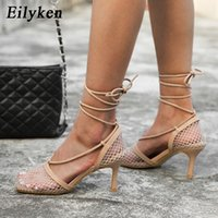 Eilken verano otoño sexy malla bombas sandalias femenino de punta cuadrada tacón alto encaje hacia arriba cruz-atado stiletto hueco vestido zapatos zapatos shgowshgtow