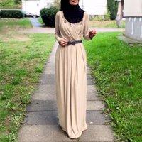 Women Kaftan Abaya Fashion Solid Color V-neck Dress Muslim Long Sleeve Self Tie Flowy Maxi Robe Longue Femme Musulmane EID Ethnic Clothing