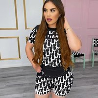 Tracksuits Casual Black Ladies Lounge Wear 2 Piece Shorts and Short Sleeve T Shirt Set for Women