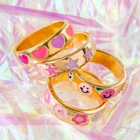 18k gold plated cute lovely pink pinky colorful enamel smile star heart women full finger band ring