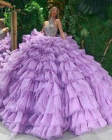 Purple Ball Gown Quinceanera Dresses Halter Crystal Beading Ruffles Skirt Sweet 16 Dress 2021 vestidos de XV años Prom Gowns