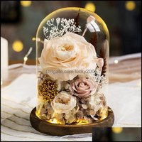 Decorative Wreaths Festive Party Supplies Home & Gardendecorative Eternal Flower Handmade Preserved Real Rose Glass Er Holder Immortal Flowe
