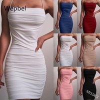 Fashion Pleated Sexy Dress Plus Size Slim Fit High Waist Slash Collar Bodycon Solid Color Casual Mini Dresses