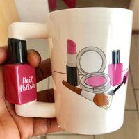 Tassen 2021Creative Keramik Mädchen Werkzeuge Schönheit Kit Specials Nagellack Griff Tee Kaffeetasse Tasse Personalisiert Für Frauen Geschenk