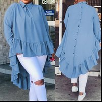 Celmia Damenhemd Asymmetrische Oberteile Mode Blusen Solide Rückseite Tasten Rüschen Hemden Revers Langarm Lässige Blusas Femininas