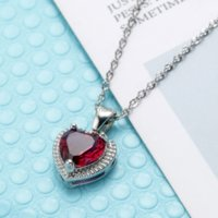 Red Green Diamond Heart Necklace Pendant Stainelss Steel Chain Women Girls Necklaces Crystal Fashion Jewelry Will and Sandy