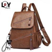 Vintage Tassel Pu Leather Multi-zip Clamshell Women Backpacks High Quality Soft School Bags Capacity Designer Travel 211025