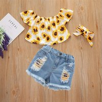 Clothing Sets Baby Girl Clothes Toddler Kids Girls Summer Sleeve Floral Tops+Ripped Denim Shorts Outfit Outfits