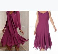 Purple Chiffon Mother Of The Bride Dresses Scoop Long Sleeves Tea Length Flowy Mother Prom Dresses Wedding Guest Dresses