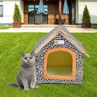 Cat Shelter Basket Outdoor Pet House Portable Leopard Print Waterproof Stray Foldable For Dogs Cats Small Animals Products 2021