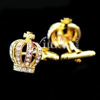 Кнопка Inbev Половина манжеты Ссылки короны Золотой Серебряный Синий Кристалл Французский Рукав Шпилька 508 Запонки 991483