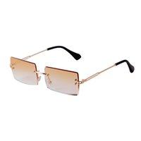 Trendy Rechteck Randlose Sonnenbrille Frauen 2020 Marke Design Metall Rahmen 90er Jahre Ozeanlinse Rahmenlose Sonnenbrille Schatten Weibliche S298