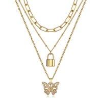 Correntes 3 pçs / definir cor ouro caixa de rolo / delicada colar de gargantilha satélite com fechadura / borboleta gelada fora rhinestones cz pingente dn195a