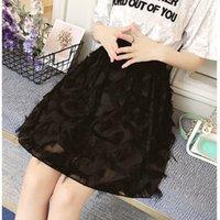 Skirts Long Tulle Skirt Women 2021 Spring Summer Tassel Korean Elegant High Waist A-line Pleated School Midi Female