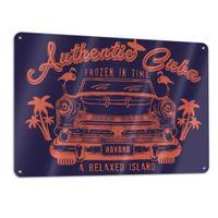 Panneaux en métal Signs Signs 11.8 * 7.9 en authentique illustration Cuba-avec-voiture une taille d'une taille drôle d'autocollants en métal Fashion Posters