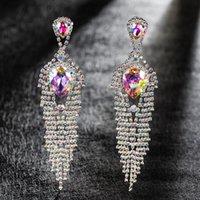 Bohemia Long Tassel Dangle Earrings Party Accessories Shine Crystal Multicolor Line Drop Earring For Women Jewelry