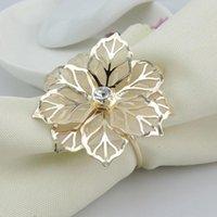 Napkin Rings El Mesh Serviette Wedding Decor Crystal Flower Towel Table Home Metal Holder Party Banquet West Dinner