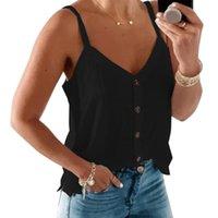 Women's Tanks & Camis Black Women Sexy V-neck Button Halt Tops Summer Sleeveless Casual Vest Female Fashion Tank Solid Shirt Ladies Camisole