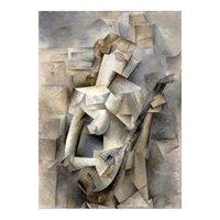Pablo Picasso 1910 Mädchen mit einem Mandolin_ Malerei Poster Drucken Home Decor Gerahmte oder ungerahmte PhotoPaper-Material