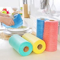 Cleaning Cloths 1 Roll Non-Woven Fabric Washing Cloth Towels Kitchen Towel Disposable Striped Practical Rags Wiping Souring Pad