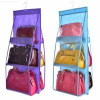 Door Transparent Pocket Handbag Organizer 6 Wardrobe For Wall Storage Sundry Hanging Clear Closet Pouch Bag With Hanger Shoe Vrvlf