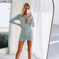 Casual Dresses UVRCOS Summer Cyber Y2k Clothes Fashion For Women Cotton Aesthetic Bandage Drawstring Cut Out Criss Cross Neck Skirt