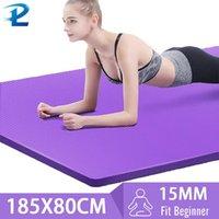 185 * 80 cm 15mm maior espessura e alargada de alta qualidade NBR antiderrapante fitness yoga tapete pilates exercício saudável fitness esteira z1125
