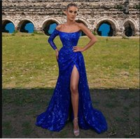 Blue Sequined Mermaid Prom Dresses Strapless Neck Side Split Evening Gowns One Shoulder Long Sleeve Sweep Train Formal Dress Second Reception Gown Custom Made