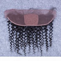 4x4 Seidengrundspitze Frontal Verschluss Günstige peruanische tiefe lockige menschliche Haare Seide Top 13x4 Ohr zu Ohrspitze Frontal Stücke Gebleichte Knoten