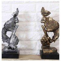 Kreative Denker Statuen Retro abstrakte Charaktere Figur nicht hören / sprechen / sehen Miniatur skulptur Home Desktop Handwerk Geschenk 210414