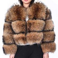Maomaokong winter women's real fur coat Natural Raccoon fur jacket high quality fur round neck warm woman jacket 211013