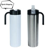 Sublimation Straight 20oz Skinny Tumblers with Plastic Handle Lid Straw Stainless Steel Double Wall Insulated Vacuum Blanks Coffee Mugs DIY Slim Water Bottle Cups