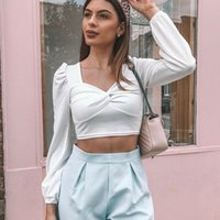 Women's T-Shirt Womens Long Sleeve Crop Top Ladies Casual Slim Fit Tops Deep V-Neck Spring Solid Tee Cloth