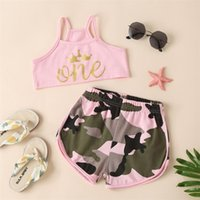 kids Clothing Sets girls boys outfits infant toddler Letter printing top Camouflage shorts 2pcs set summer fashion Boutique baby 2266 V2