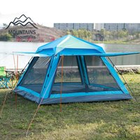 Outdoor 3-4 Person Automatic Waterproof Windproof Anti- Mosquito Double Layer Breathable Camping Beach Family Travel Tent Tents And Shelters
