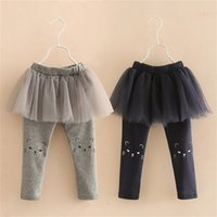 Primavera Outono Coréia 2-10 Anos Crianças Comprimento Completo Capri Calças Café Dos Desenhos Animados Cat Crianças Culottes Lace Saia Legings Girls 210414