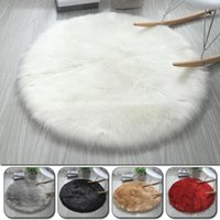 Carpets 1Piece Round Soft Faux Sheepskin Fur Area Rugs Bedroom Living Room Floor Shaggy Silky Plush Carpet Rug Bedside