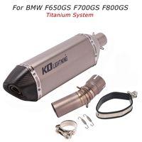 Pour F650GS F700GS F800GS Moto Titanium Titanium Système d'échappement Mid Link Tuyau Tuyau de silencieux avec DB Killer
