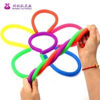 Fidget Noodle corda sensory brinquedo Fidget Abraque Corda de descompressão Corda flexível Cordas de macarrão TPR Hyperflex Stripy Stress Relief Toy H26OLISL