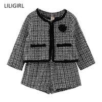 Liligirl Kids Girls Girls Temperament Set 2020 New Plaid Jacket + Shorts 2pcs Traje para niña Baby Girl Cupo de chándal de buena calidad X0401